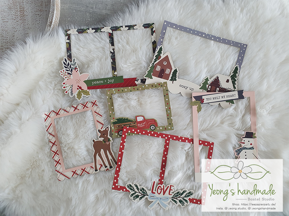 10030. Winter Cottage Layered Chipboard Frames Die-Cuts 6/Pkg - yeongs Handmade